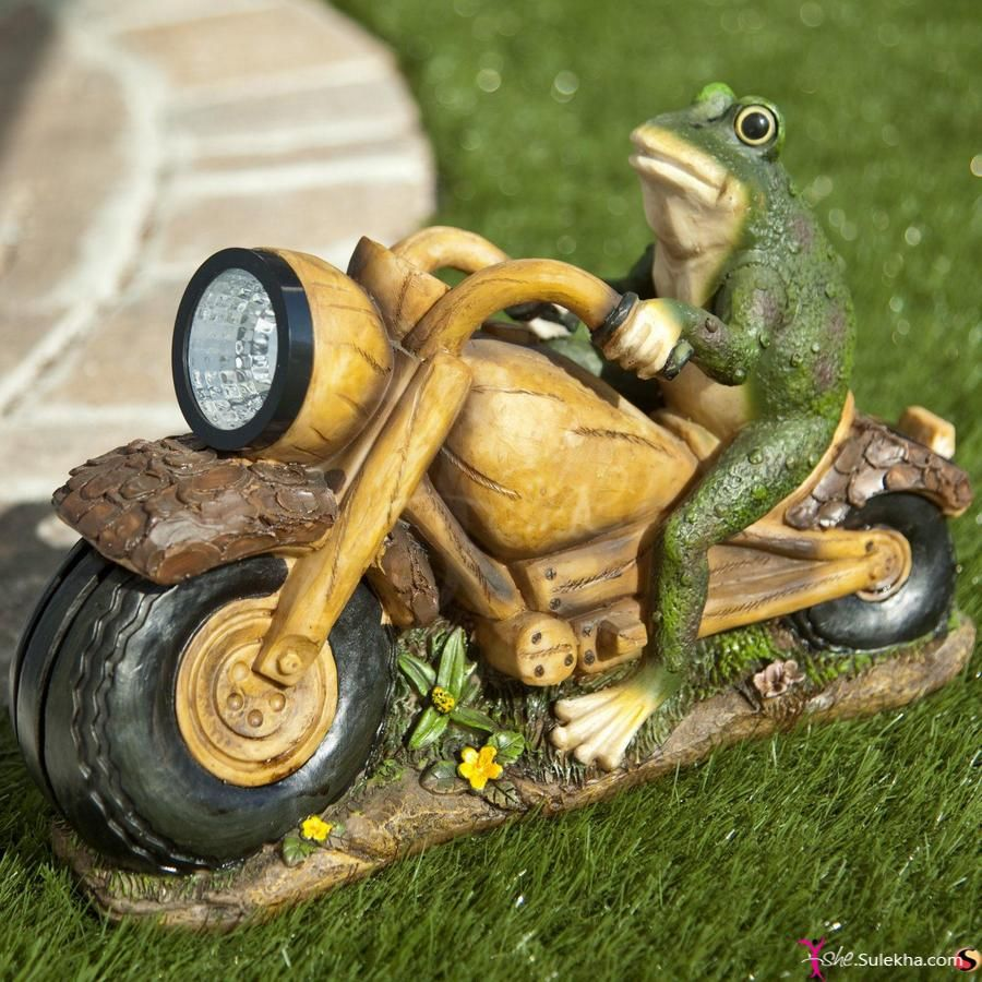 Solar Light Frog On Motorcycle Statue Hidden Amongst The Flowers, A Garden  Statue Can Add