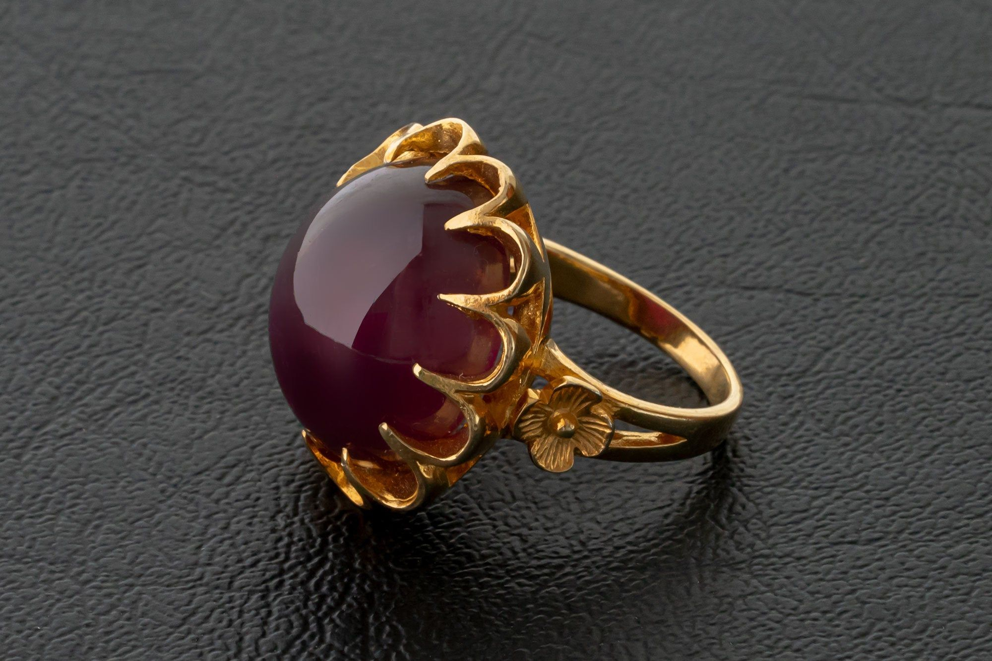 Gift For Birthday Bezel Set Ring Designer Ring 18k Gold Plated Ring Ruby Carved Ring Natural Ruby Ring Solid Brass Ring