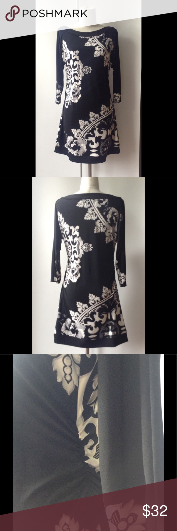 "WHBM S print dress in black/white knit Knit dress, black background with white grey floral. 32"" from back of neck to hem. 3/4 sleeve, and rouching ar side waist on both sides. White House Black Market Dresses"