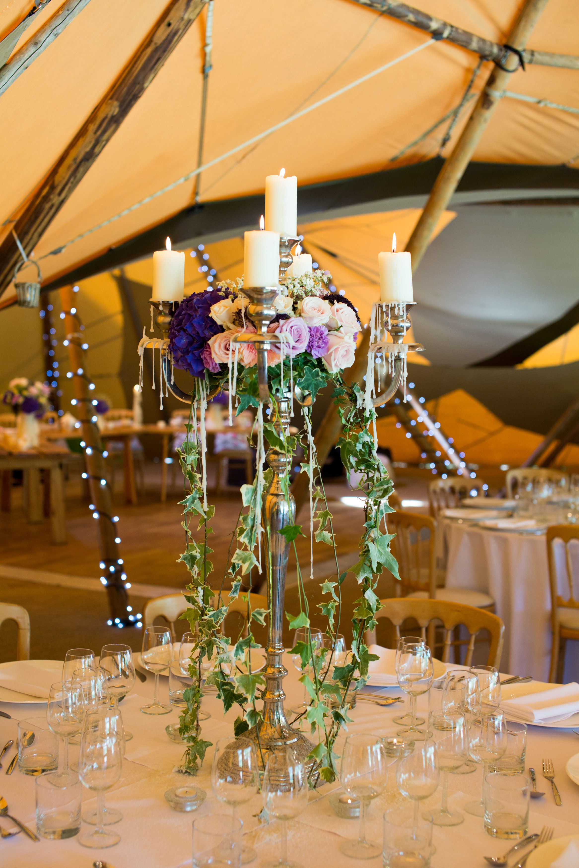 Tall Candelabra Tipi Wedding Centrepiece With Trailing Ivy Www Samandlouise Co Uk