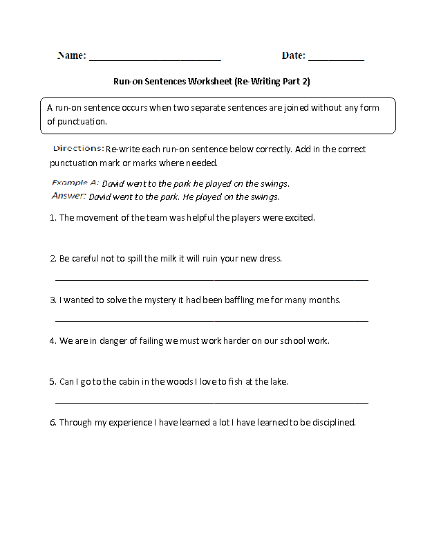 Run on Sentences or Not Worksheet | English/Language Arts/Reading ...