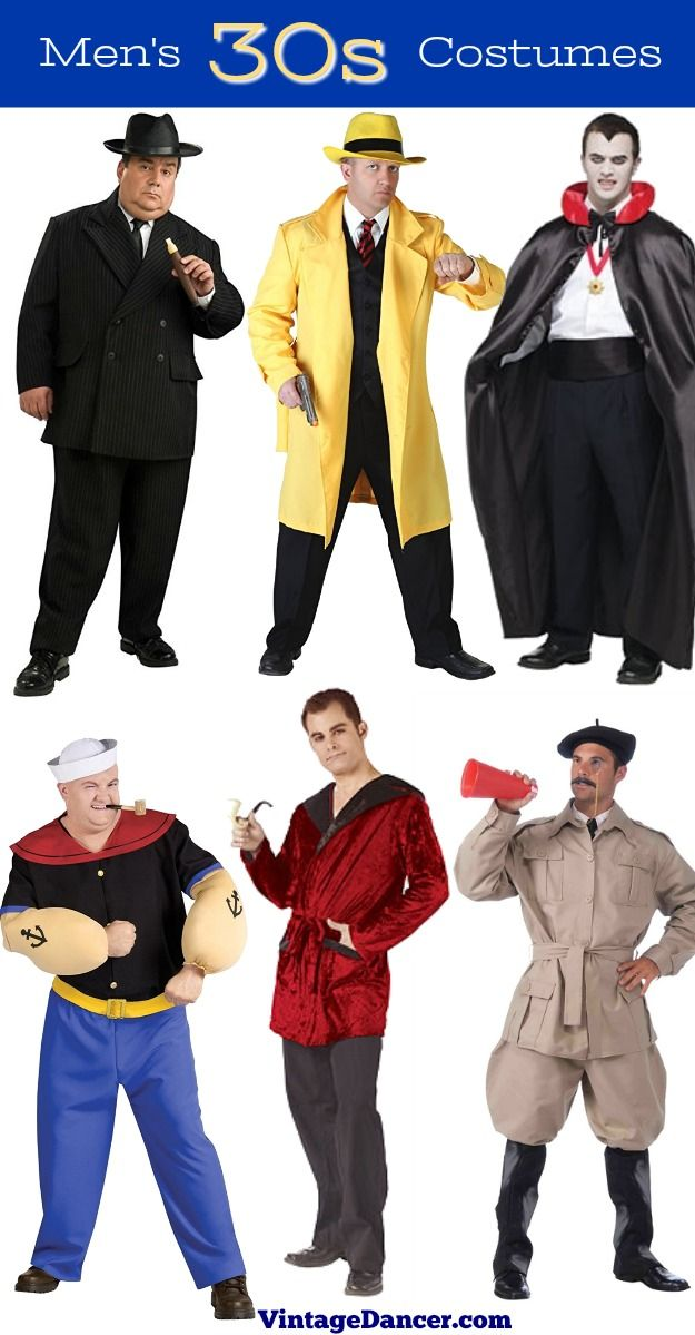 1930s Mens' Costume Ideas : Gangster Dick Tracy, Dracula, Popeye, Old  Hollywood star, Movie director
