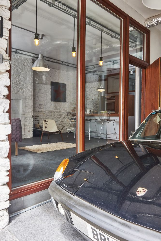 Clever Internal Garage Design   This Ground Floor Warehouse Conversion  Includes An Indoor Garage. Perfect For Keeping An Eye On The Vntage Porsche!