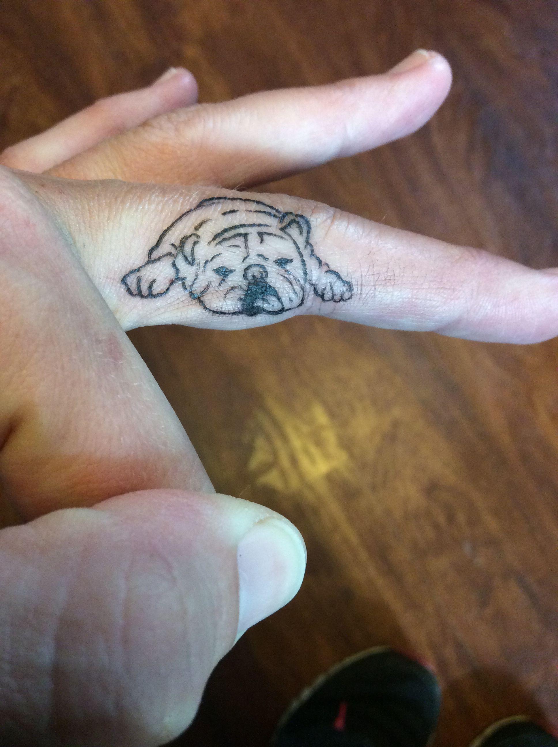 Bulldog finger tattoo | Tattoos | Bulldog tattoo, Finger tattoos ...