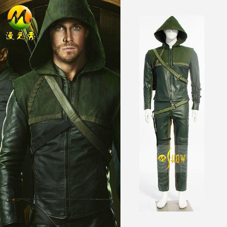 Halloween Cosplay Green Arrow Oliver Queen Costume For Men Superhero Arrow Hoodie Leather Jacket Adult On Sale  sc 1 st  Pinterest & Halloween Cosplay Green Arrow Oliver Queen Costume For Men Superhero ...