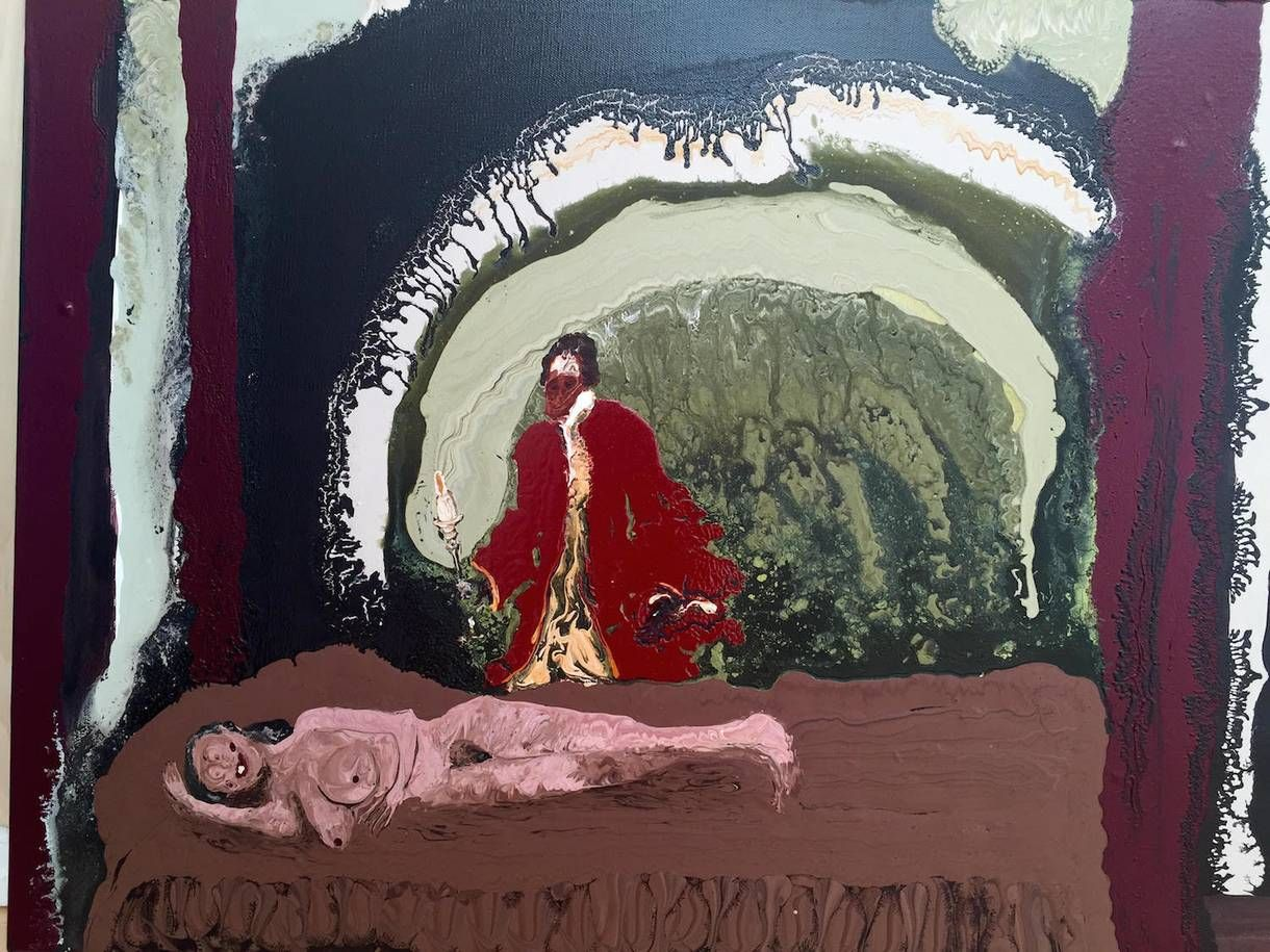 The irish artist attacking the female figure with paint