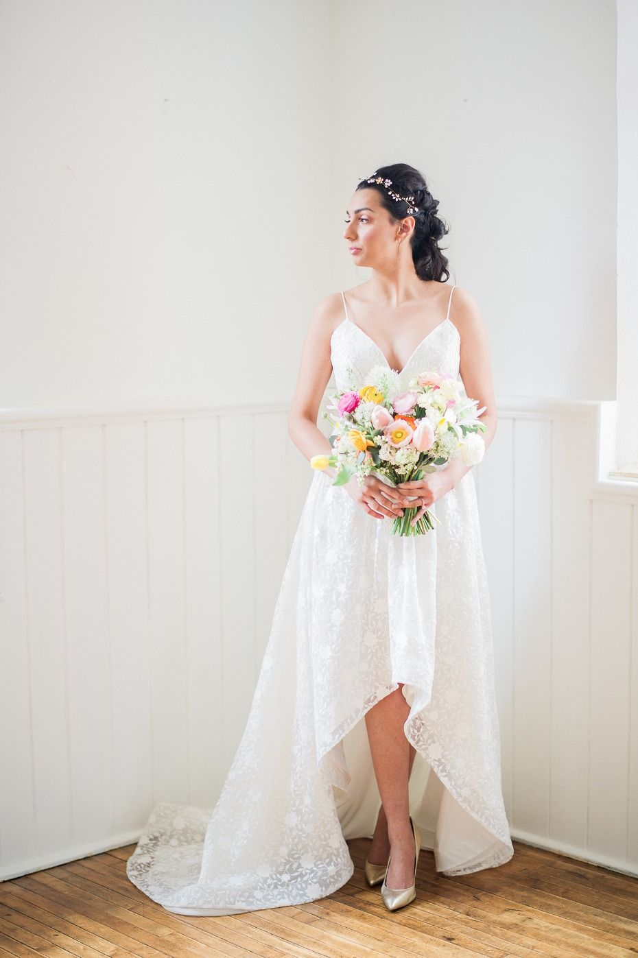 High low wedding dresses cheap  Dreamy Inspiration for a Fresh and Colorful Spring Wedding  Chic