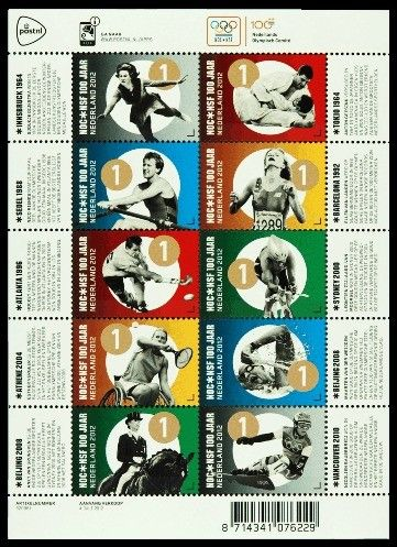 Stamp: Olympic Games , NOC * NSF 100 years (Netherlands) (Olympic Games , NOC…