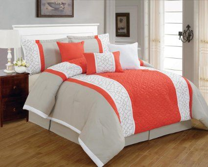 7 Pieces Luxury Coral Orange, Beige And White Quilted Comforter Set / Bed In