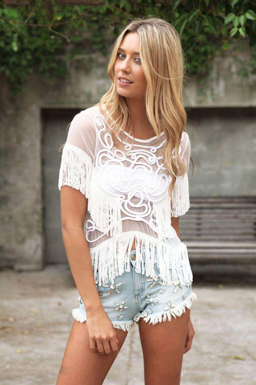 Sabo Skirt Zenith Fringe Top Ivory Fashion, Style