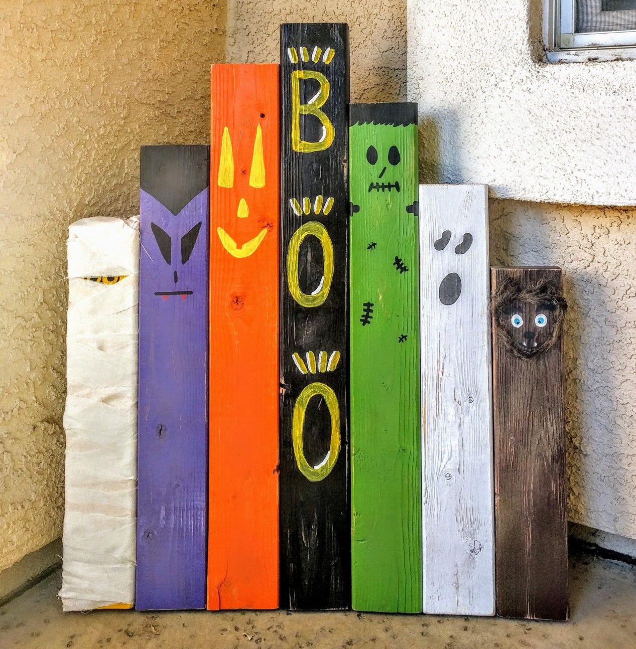 Halloween decor using reclaimed 2x4 wood Craftiness Pinterest - pinterest halloween door decor