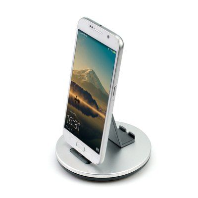 Ts028 2 In 1 Micro Usb Aluminum Alloy Charger Portable Desktop Cradle Charging Dock Cell Phone