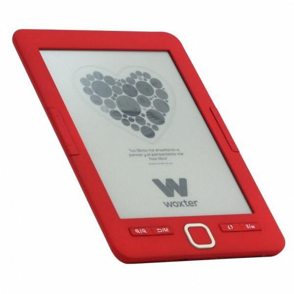 "EBOOK, WOXTER SCRIBA 195 6"" 4GB E-INK ROJO  Display: 6"" HD e-Ink Pearl Plus, 16 niveles de escala de grises, 1024×768. - RAM: 64 MB - Memoria Interna: 4 GB (permite almacenar mas de 2000 ebooks) - Batería: Litio de 1500 mAH, (3-3,5 h de carga) - Formatos E-Book soportados: Epub, pdf, fb2, htm, doc, txt, rtf, tar, tcr. etc - Otros Formatos: DRM e imágenes (JPEG, BMP, GIF, PNG)"