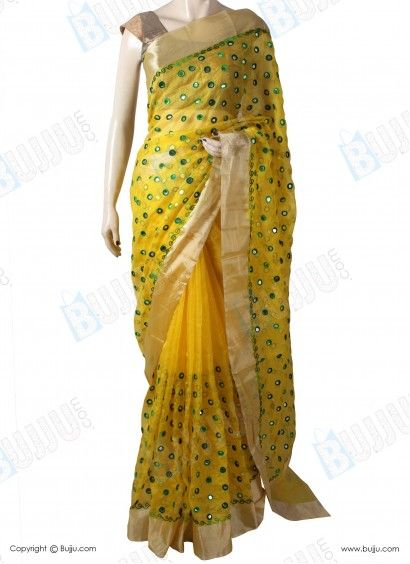269cb635f3cc0 Silk Kota Saree with Designer Mirror Thread Work   Work Blouse ...