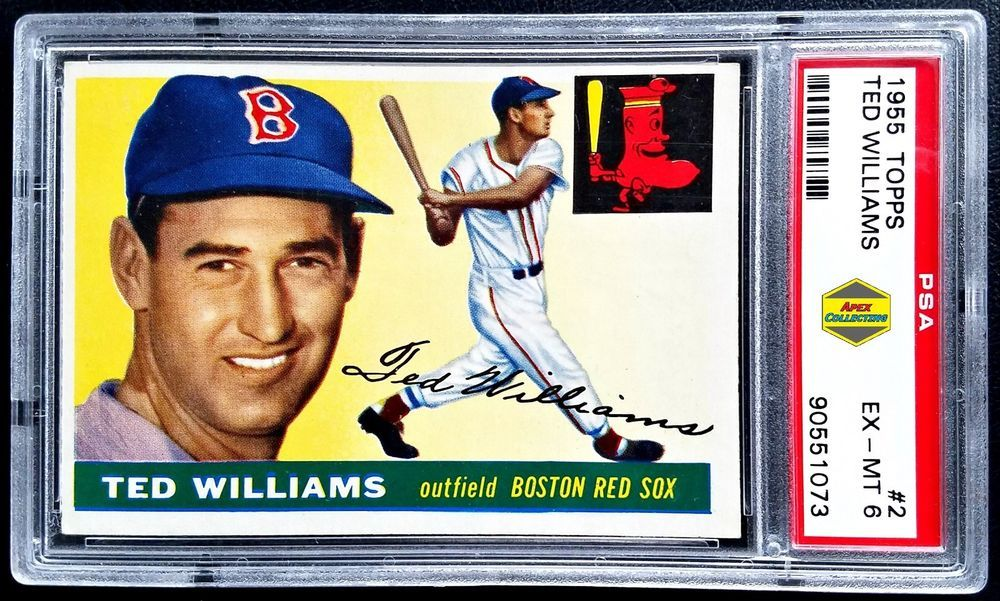 1955 topps 2 ted williams psa 6 exmt boston red sox
