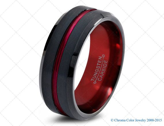 Mens Wedding Band Black Red Tungsten Ring Black Wedding Bands Colored Rings 6mm 8mm Size Women Unusual Wedding Rings Mens Wedding Bands Black Red Tungsten Ring