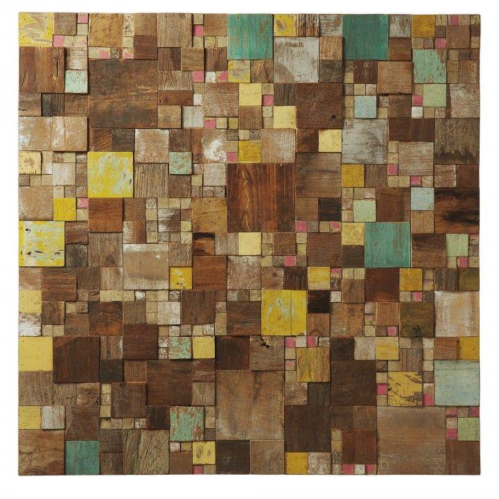 Tableau en mosaïques de bois tropical recyclé en finition multicouleur.