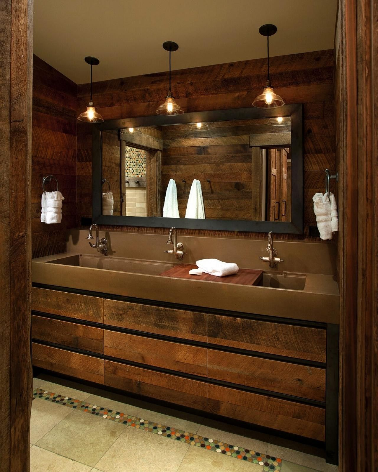 Rustic Master Bathroom Ideas: Beautiful Trough Sink Bathroom Rustic Master Bath