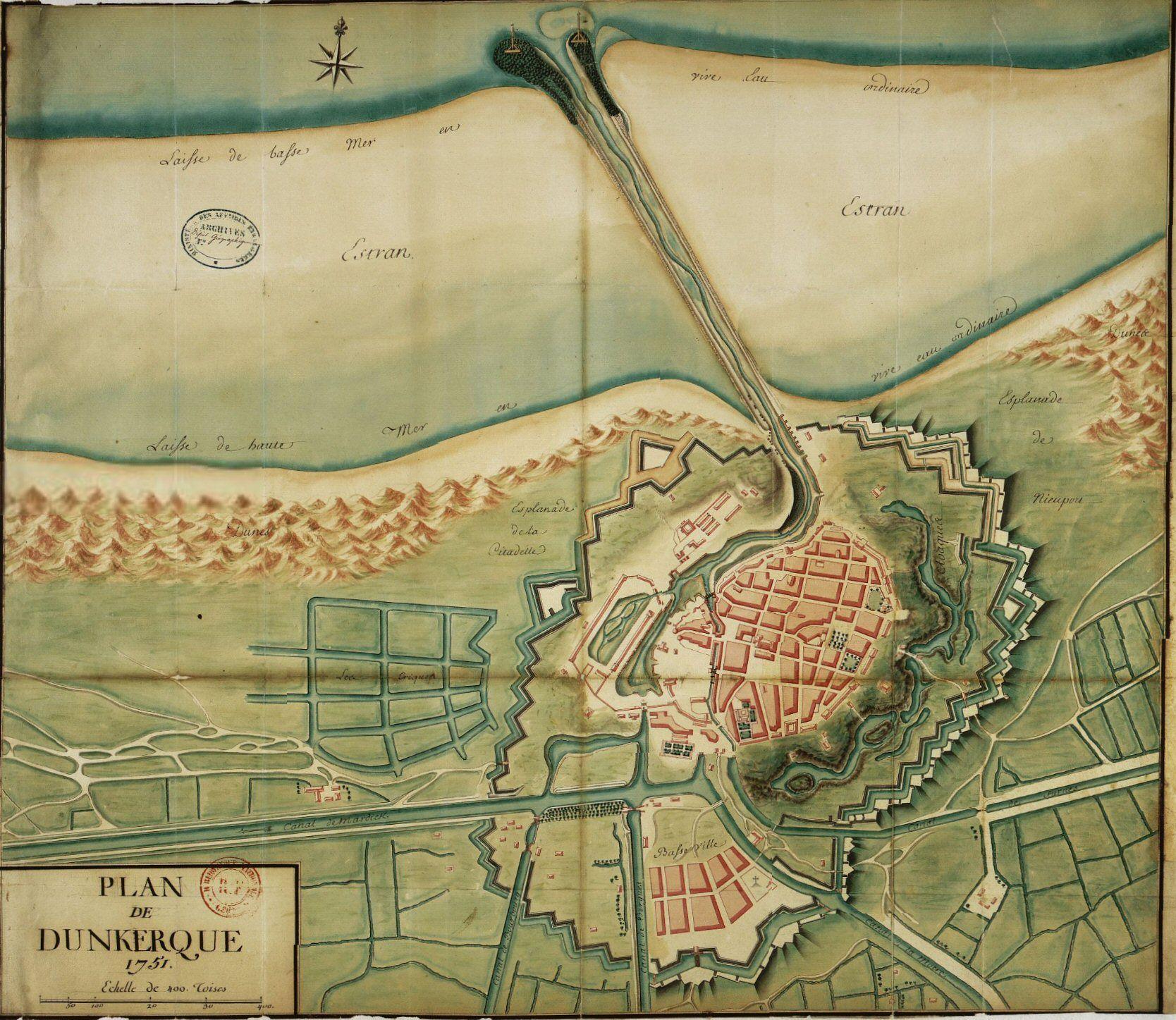 Plan Des Fortifications De Dunkerque  Etabli En 1751