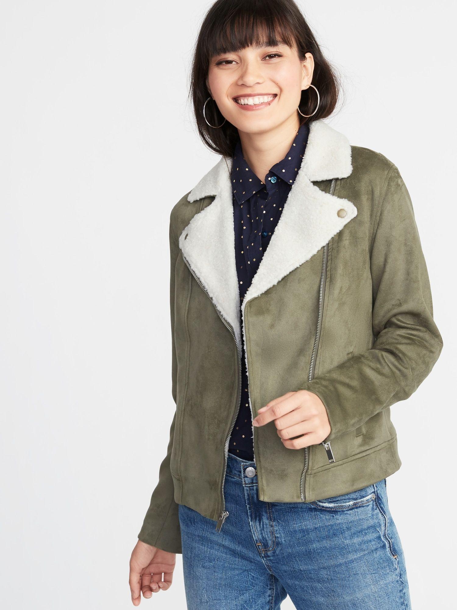 FauxSuede SherpaCollar Moto Jacket for Women Old Navy