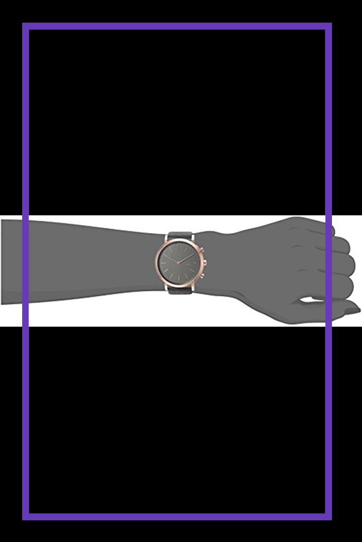 cb39fcda14f7e Skagen Women s Hald Stainless Steel and Leather Hybrid Smartwatch ...