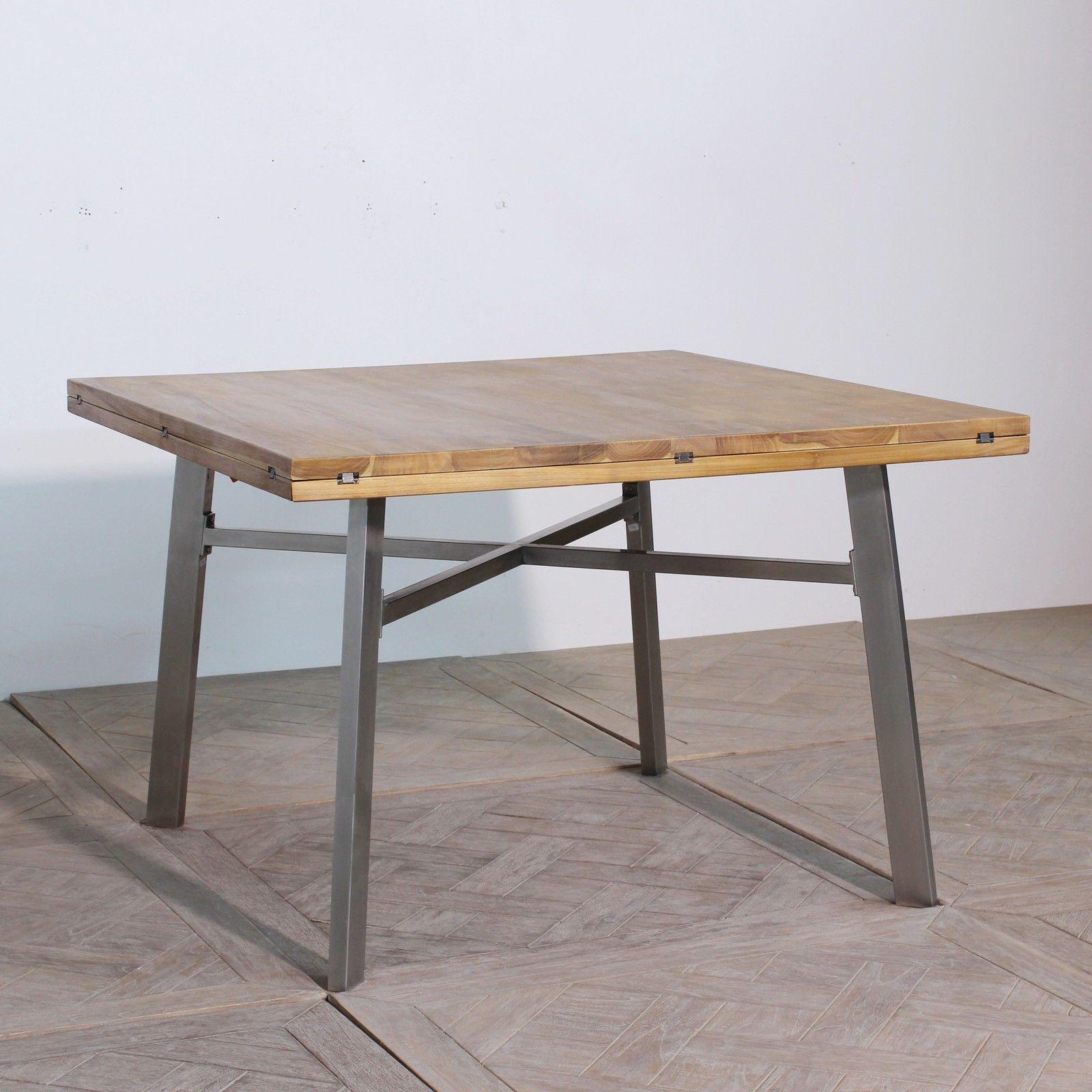 Table de repas carr e en teck massif devient ronde avec ses allonges cette table carr e mesure for Table sejour carree avec rallonge