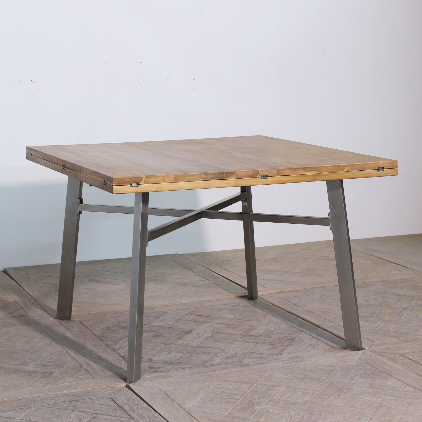 table de repas carr e en teck massif devient ronde avec. Black Bedroom Furniture Sets. Home Design Ideas
