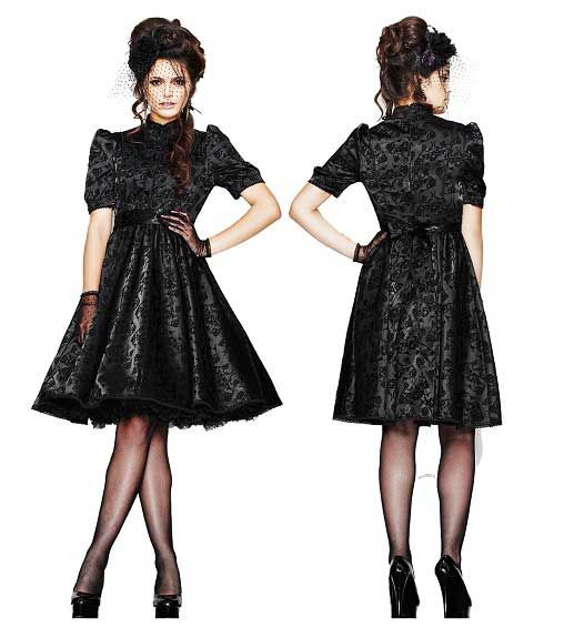 gothic formal dress | cute knee length black formal retro vintage prom dresses with sleeves ...