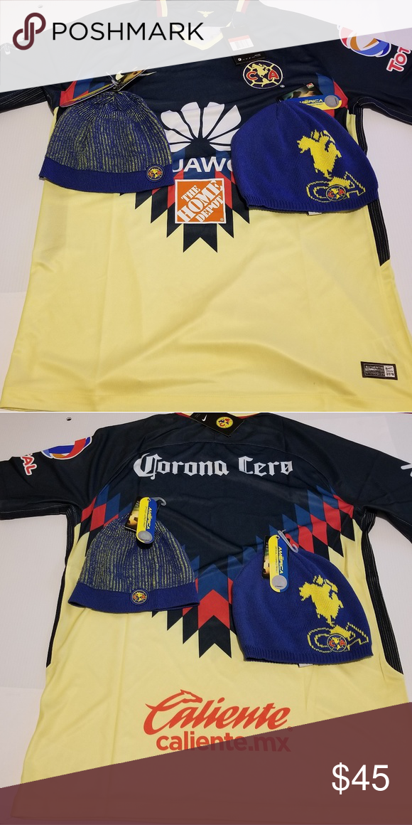 cef9dd7be58 Club America jersey size large & 2 beanies Club America soccer jersey size  large and 2 beanies official license product Nike Shirts Tees - Short Sleeve