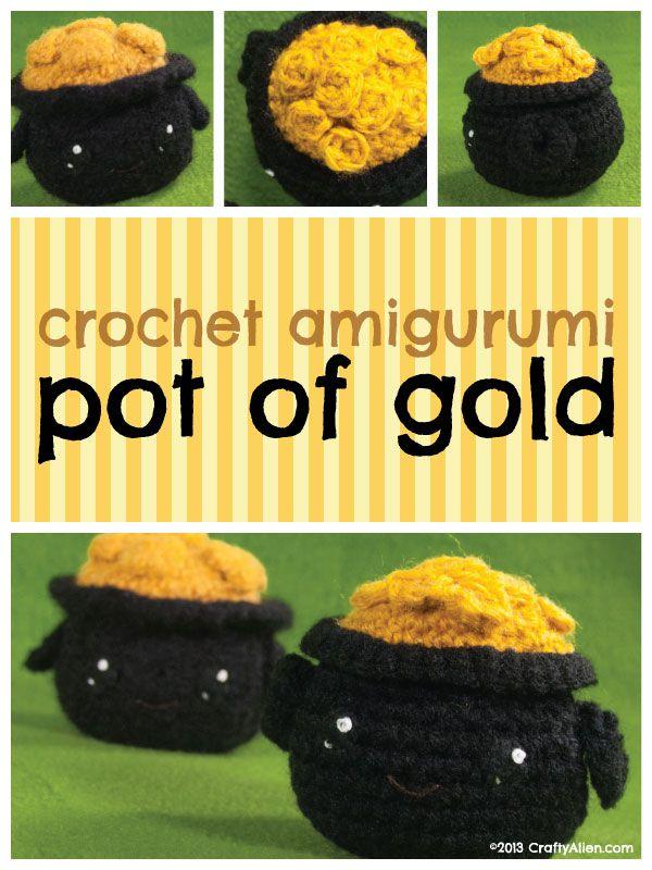 Crochet Amigurumi Pot of Gold #kawaii #freepattern #crochet ...