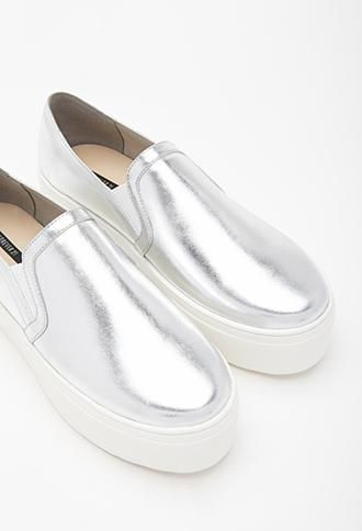 You're Going to Want EVERYTHING From Forever 21s Minimalist Section - Silver Metallic Faux Leather Platform Slip-Ons, $29.90