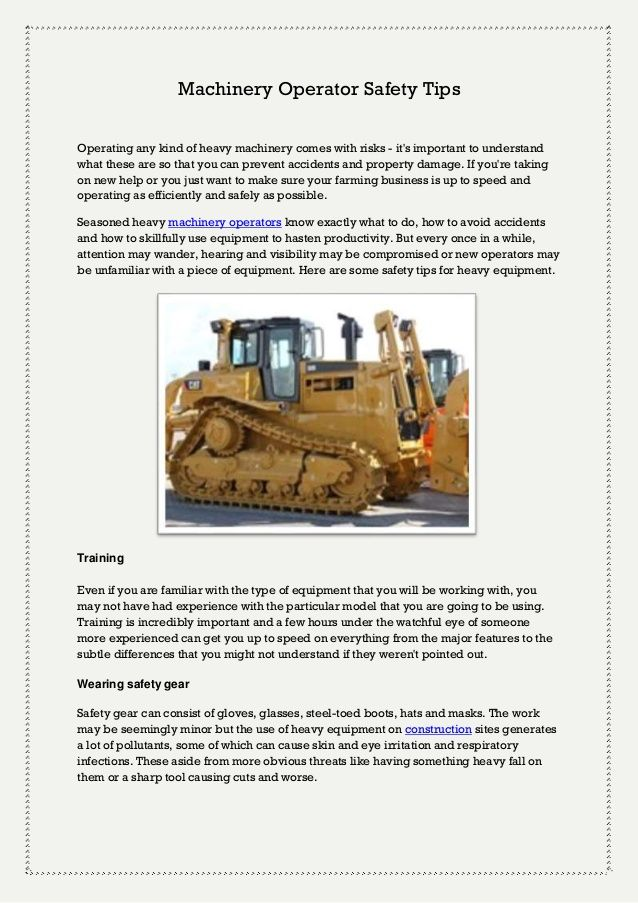 Machinery Operator Safety Tips by thebestjobs via slideshare | Jobs ...