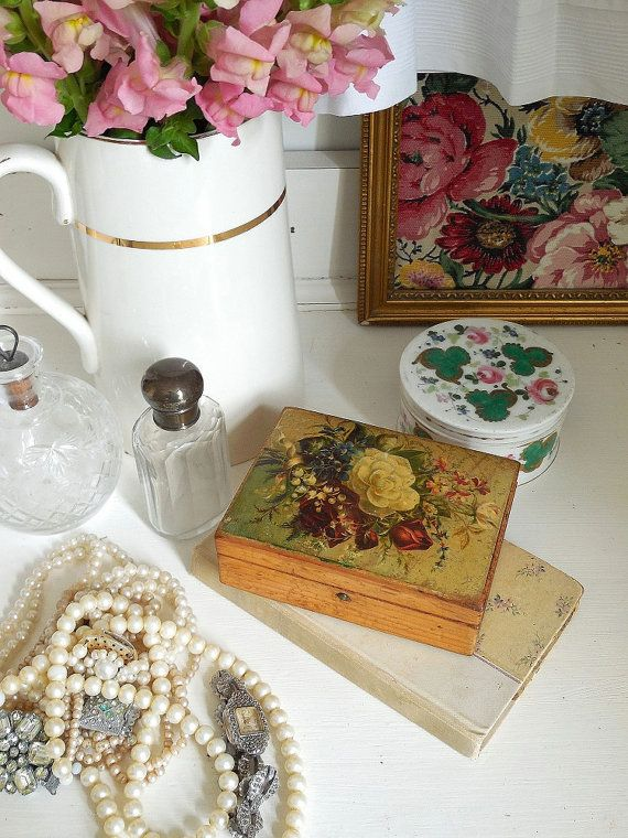 Antique French box with decoupage lid trinket box by EmmaAtLHV