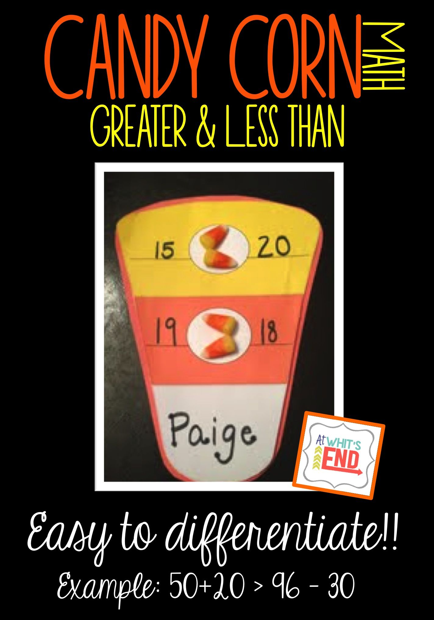 Greater And Less Than With Candy Corn