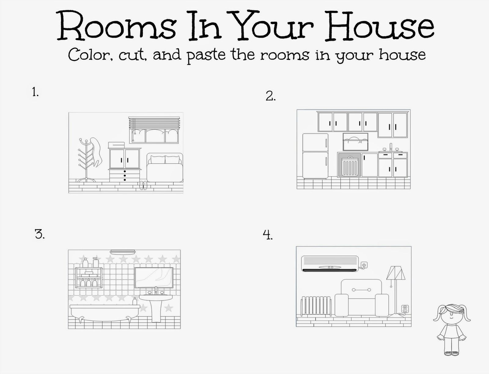 Cute little activity - walk the little girl through the rooms in the house.
