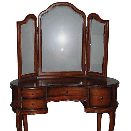Antique Vanity Dresser Tri Fold Mirror With Bench Antique Vanity Table Wooden Makeup Vanity Vanity Table