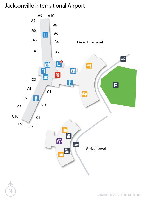 Jacksonville Airport Map JAX) Jacksonville International Airport Terminal Map | airports  Jacksonville Airport Map