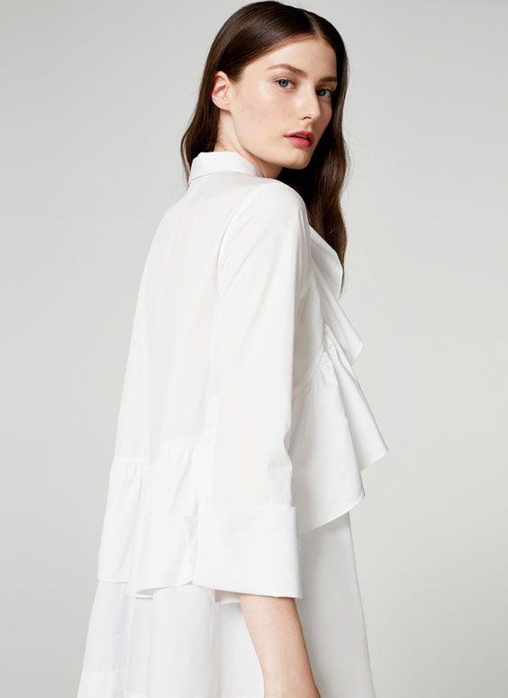 624d49430 Uterqüe Portugal Product Page - Coleção - Camisas e blusas - Camisa de  popelina com folho