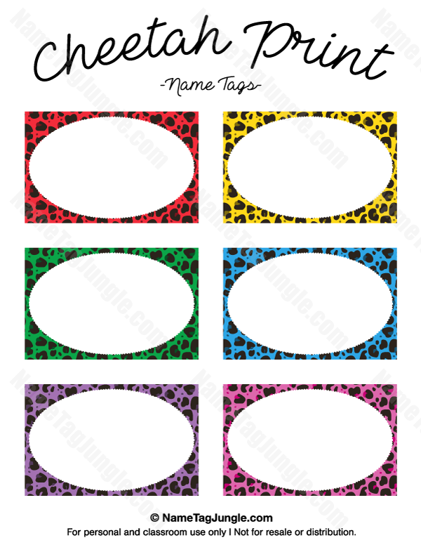 Free Printable Cheetah Print Name Tags The Template Can Also Be Used For Creating Items