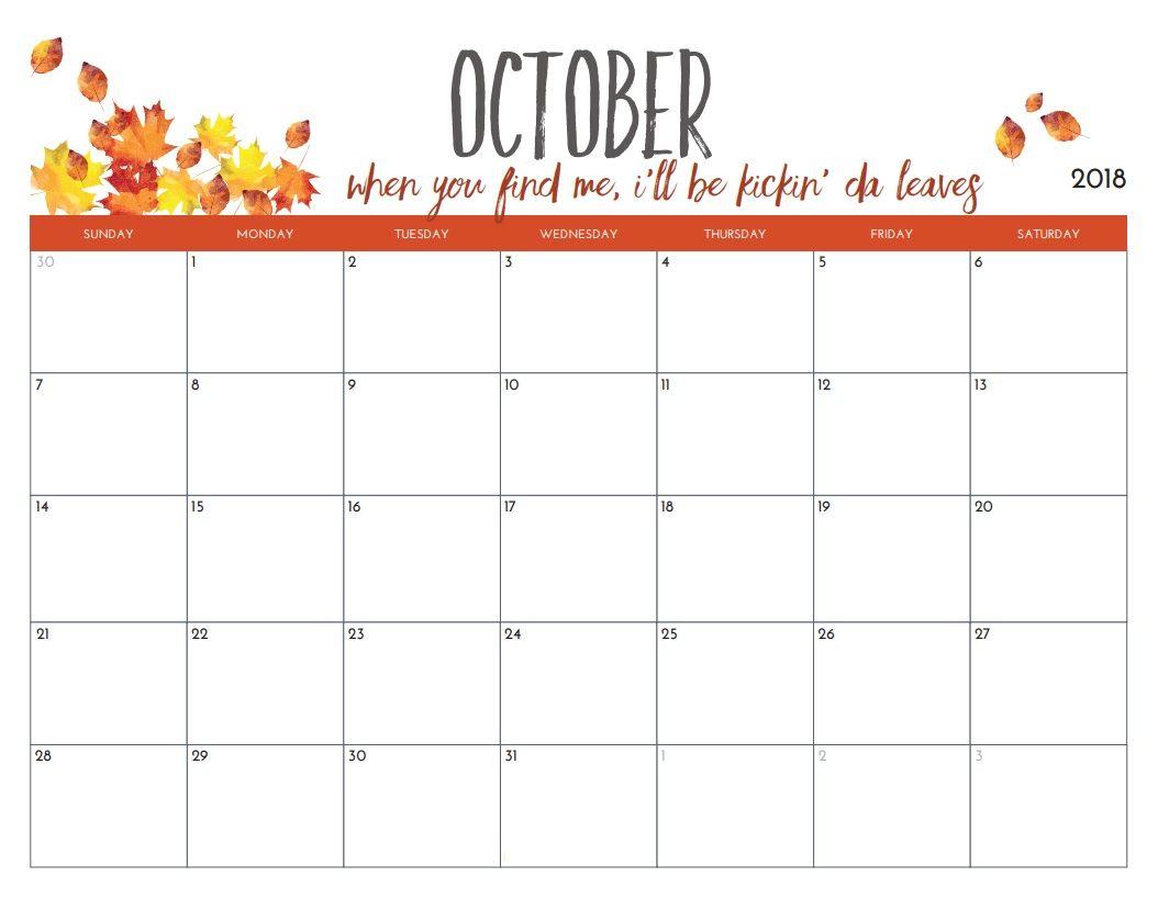 October 2018 Calendar Pdf Printable Template October Calendar