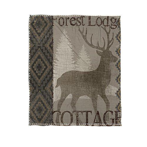 Thumbprintz Winter Lodge Deer Coral Fleece Throw 60 x 80