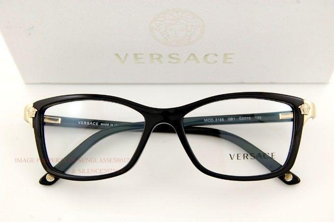 28581a3e223 Brand New VERSACE Eyeglasses Frames 3156 GB1 BLACK for Women 100% Authentic