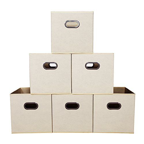 House Day Fabric Storage Bins Beige 12 Inch Cube Box Foldable Drawers With Cut Out Handles 6 Pack See This Great Product