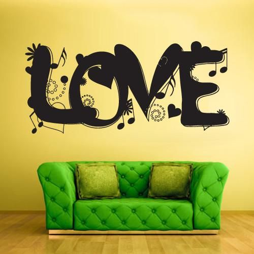 Wall Vinyl Decal Sticker Bedroom Decal Decal Love Word Music Note ...