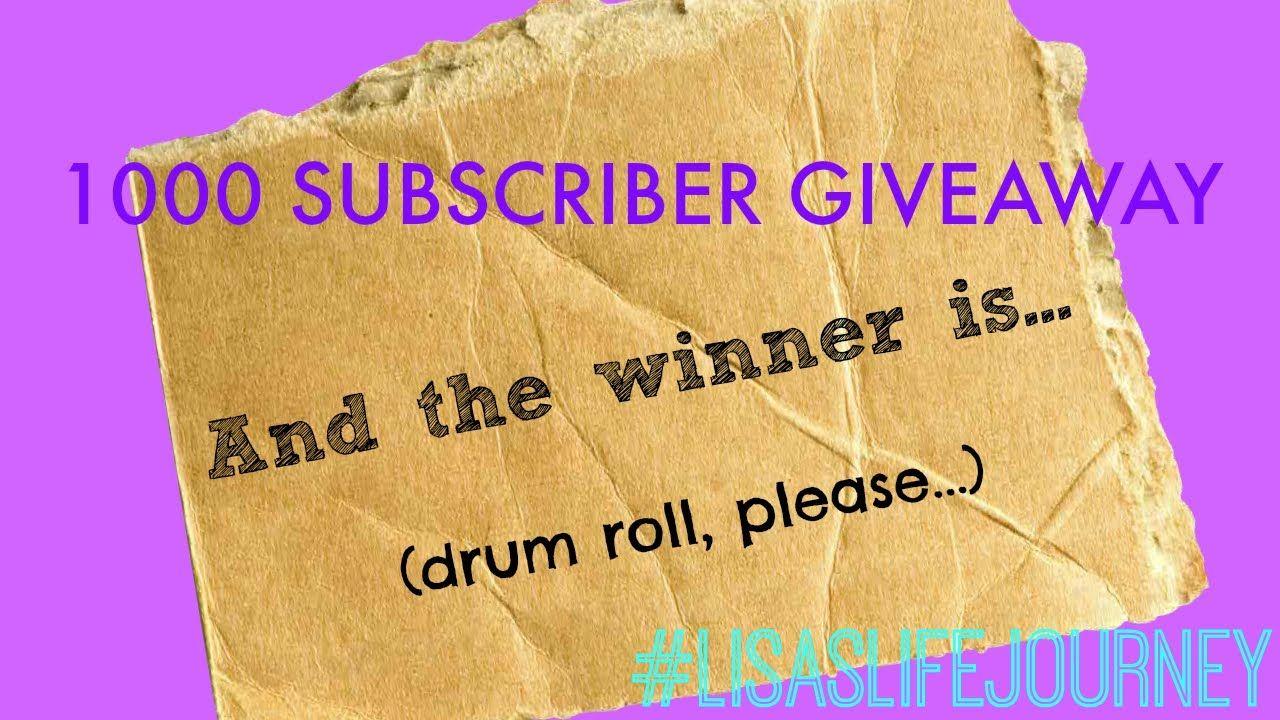 1000 Subscriber Giveaway WINNER!!!   #1000subscribergiveaway #1000subscribers #giveaway #giveawaywinner #winner #lisaslifejourney