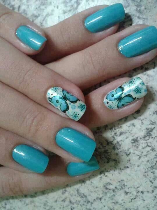 Spare Mint Green Black Butterfly Nail Designs Unas Decoradas Unas Manicuras