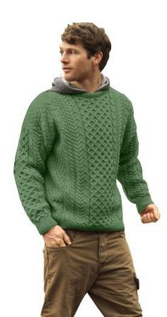 bfa295f9509a Men s Traditional Merino Wool Irish Aran Sweater Green Large ...