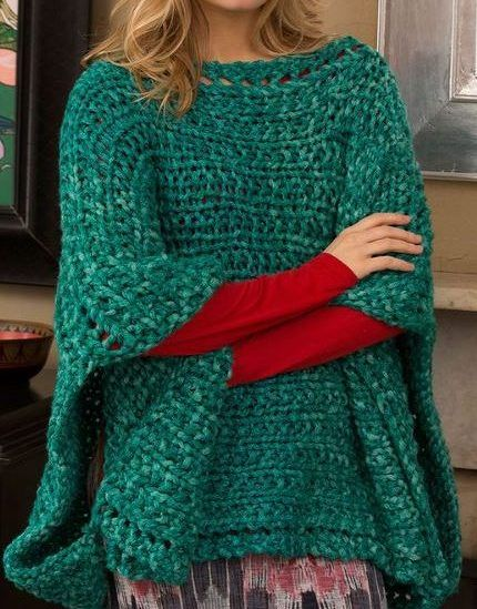 Free knitting pattern for Boat Neck Poncho - Beginner ...