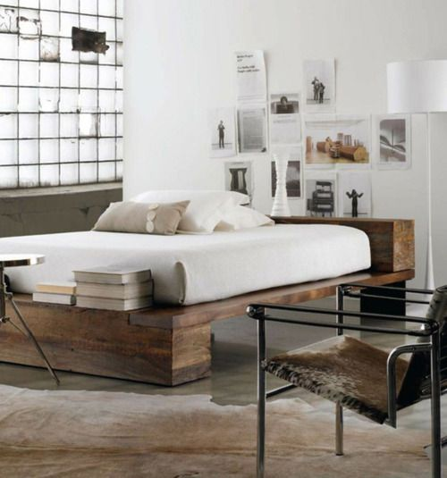 Reclaimed Wood High Rise Bed Industrial Bedroom Design Wooden