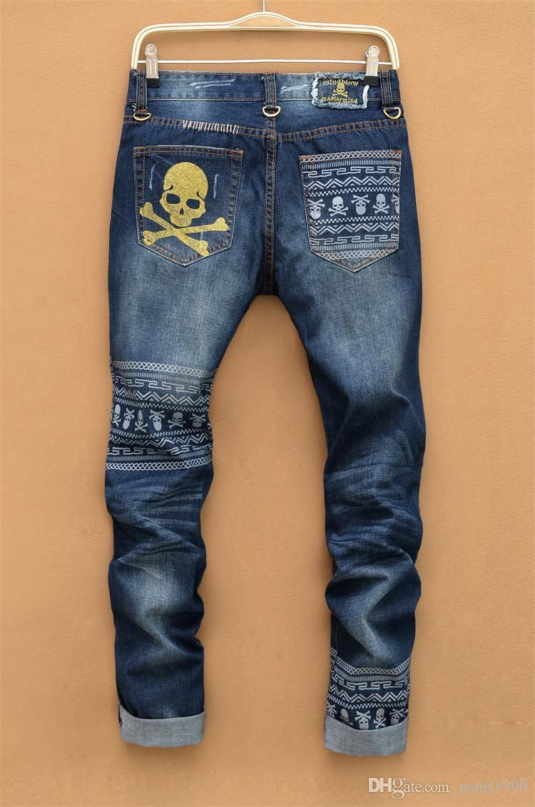2016 Print Classical For Skull Hole Jeans 2018 Streetstyle Men vdwZpvq